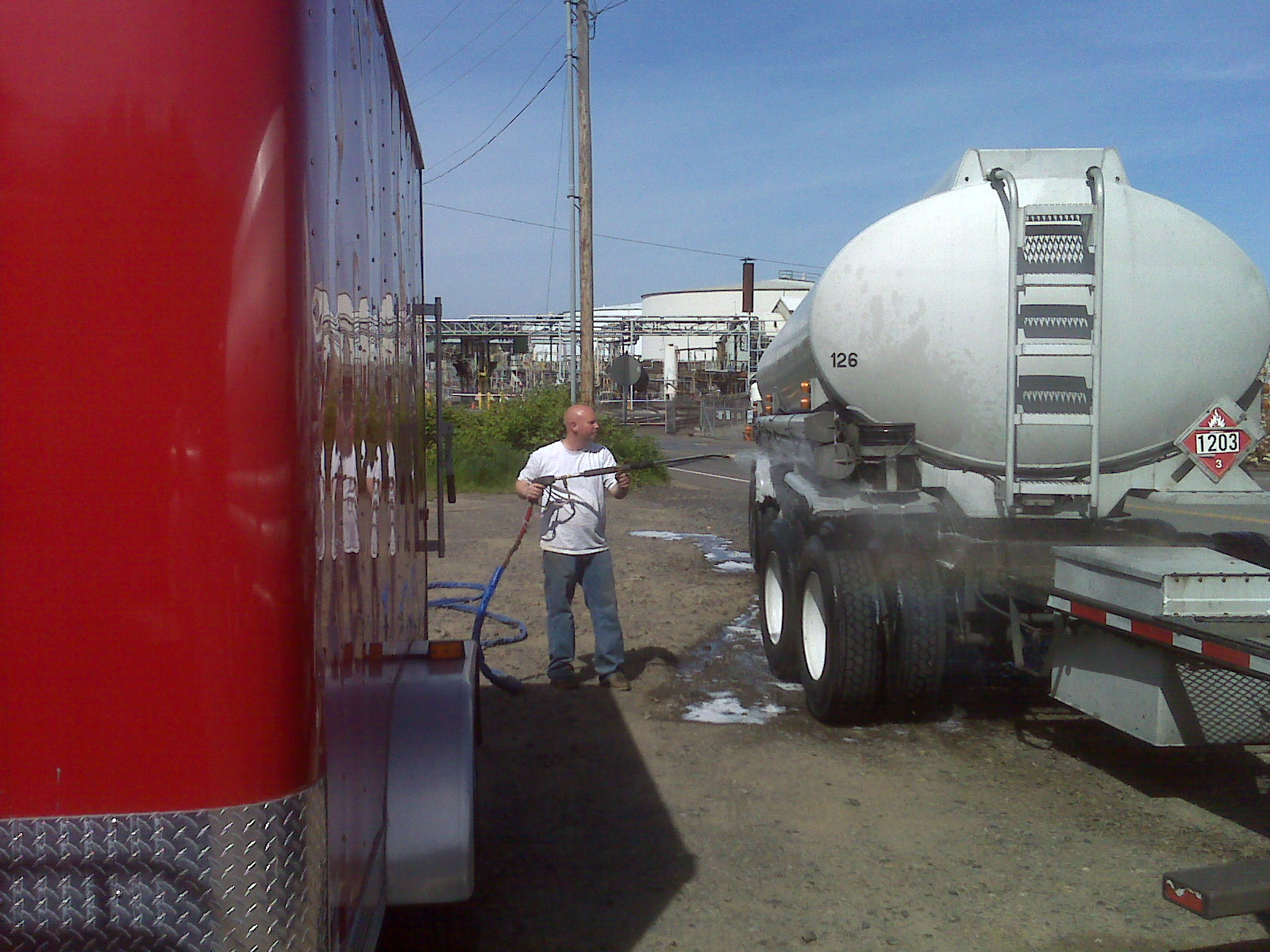 Here I am, as an Owner, Power Wash - Washing A Truck. I do a lot of these things myself to make sure I stay in shape to give you the very best service attainable in our industry. I am a real hands on Owner of this business.
