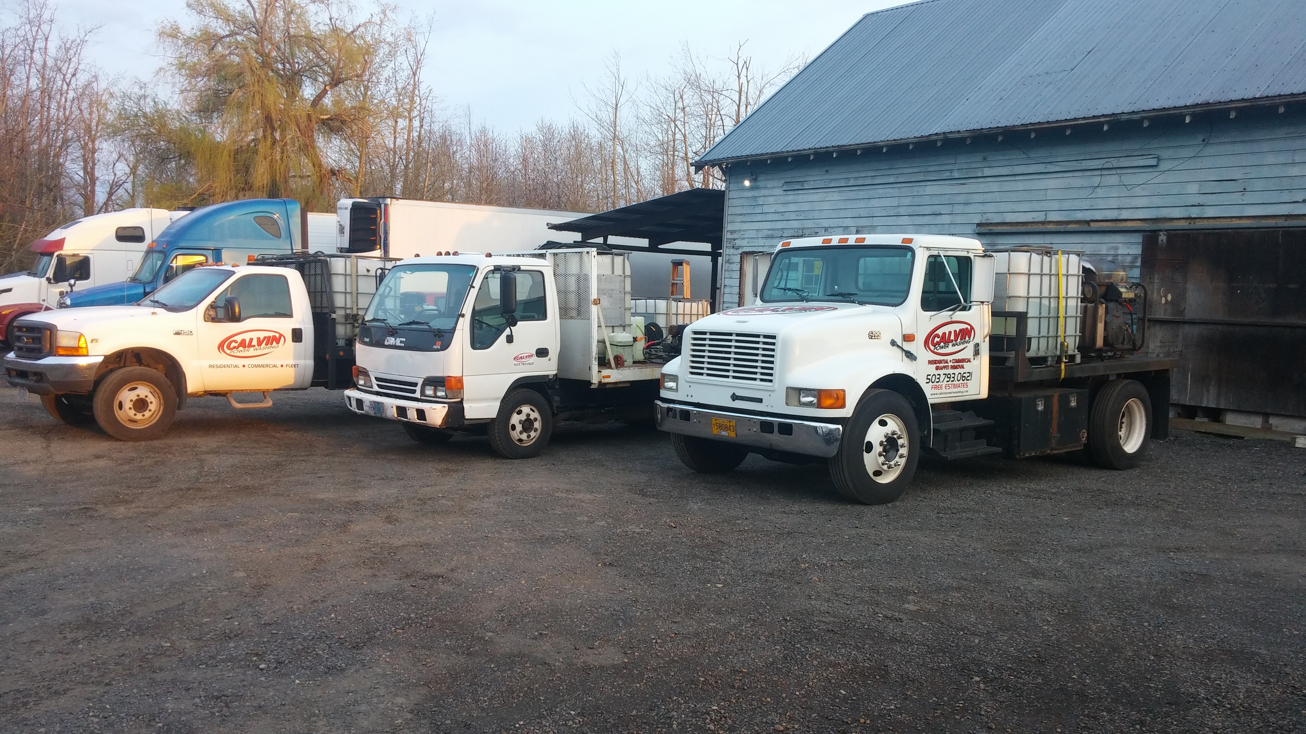 Our fleet trucks ready to go wash.
